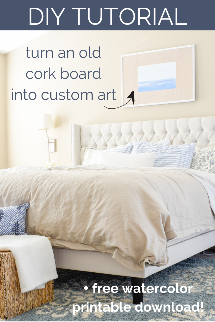 DIY Tutorial - Turning An Old Cork Board and Wallpaper Scraps Into Art For Your Home + Free Coastal Watercolor Artwork DownloadThis week on the blog, I'm showing you how to use an old cork board and leftover wallpaper / wrapping paper scraps to create a high-end looking artwork for your home.