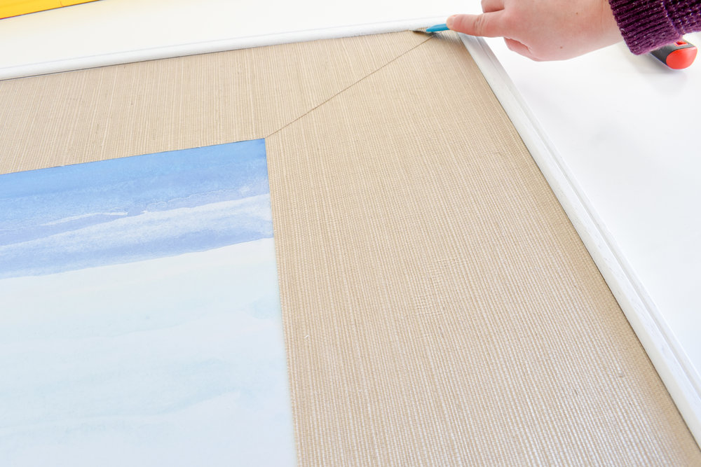 DIY Picture Matting How To Make Custom Grasscloth Picture Mats with Wallpaper Scraps | Wallpaper Leftovers Ideas