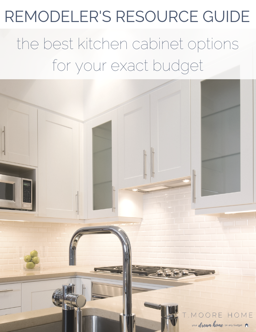 Remodeler's Resource Guide: Best Kitchen Cabinet Options - I've compiled this list of my go-store stores and products that provide the biggest style impact without breaking the bank. #kitchens #kitchenremodel #whitekitchen #diyremodel
