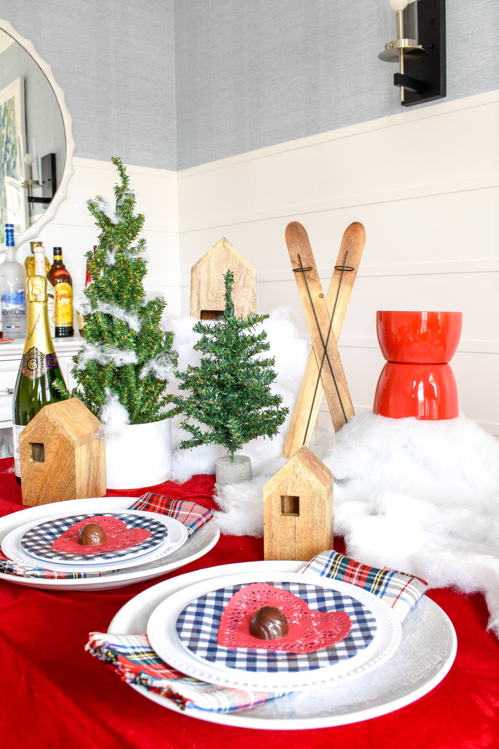 Easy Valentine's Day Ideas | A Romantic Ski Chalet: How To Re-Use Your Christmas Decor for Valentine's Day  I've left my Christmas decor up a little longer and really stretched its life by transferring it into this adorable - and romantic - chalet tablescape. Today I'm showing you how I DIYed it and how you can too! #valentinesday #chaletstyle #wintercabin