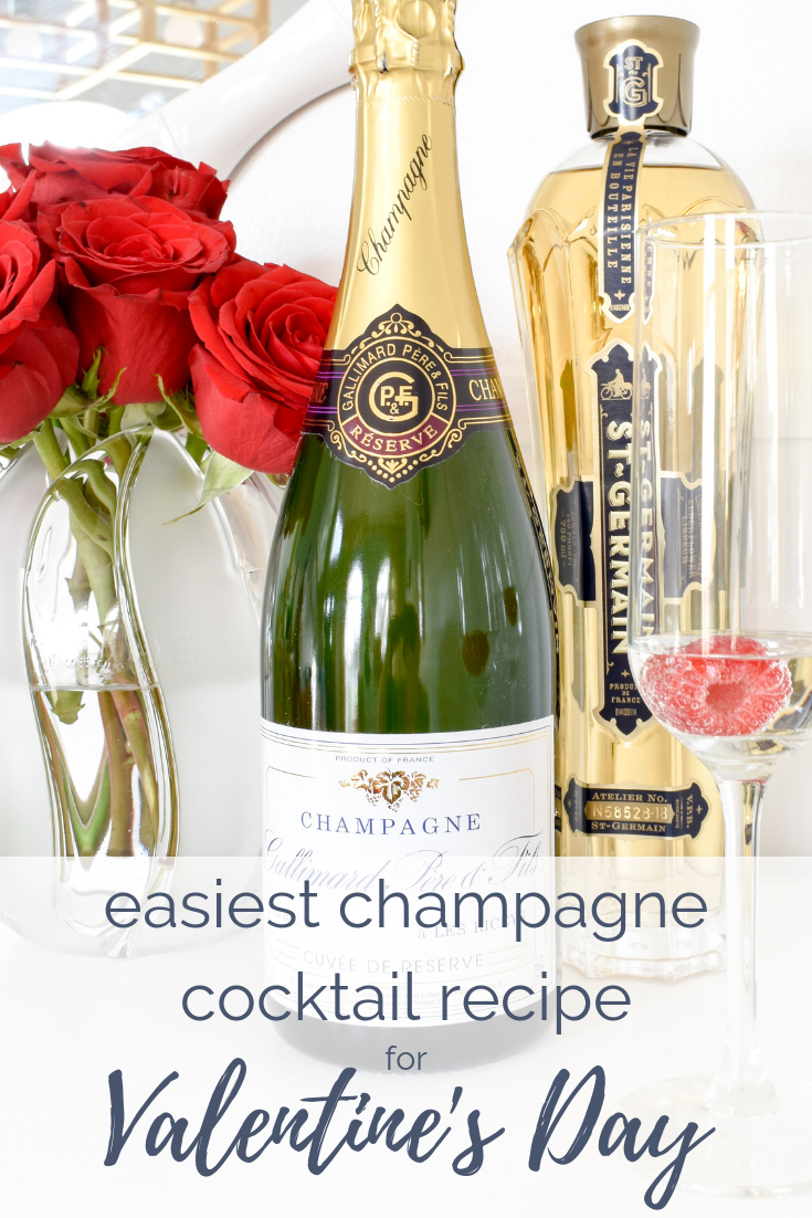 Easy Valentine's Day Ideas | Make this super simple champagne cocktail with only two ingredients to wow your #galentinesday guests! #cocktails #champagne