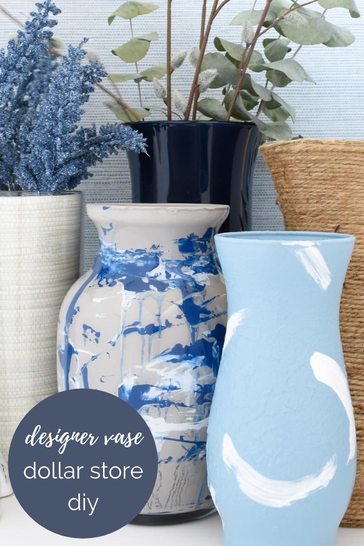 DIY designer vases from dollar store