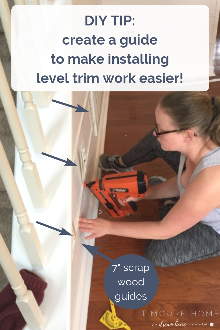 Board and Batten Wall Tutorial | Pro Tips: Create a guide from scrap wood to achieve perfect levelness around the entire room. #diywainscoting #boardandbattenwall #diyhomedecor