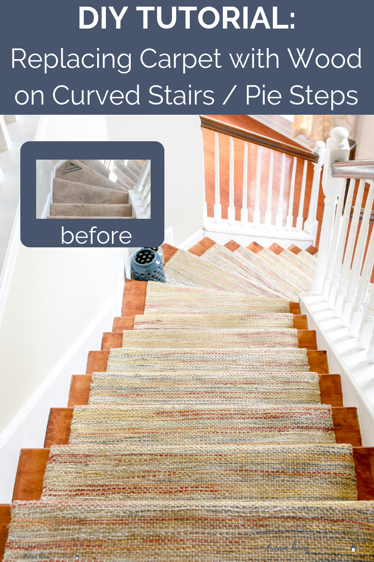Wood Stair Tread Installation on Pie Steps, Curved Staircase, or Angled Landings - Replacing carpet on stairs that aren't straight can be tricky but I'm showing you how I made a template to get your cuts exactly right!   #diyhomeupgrades #diyhardwoodstairs #easyhomeimprovement #staircaseideas #spiralstaircase