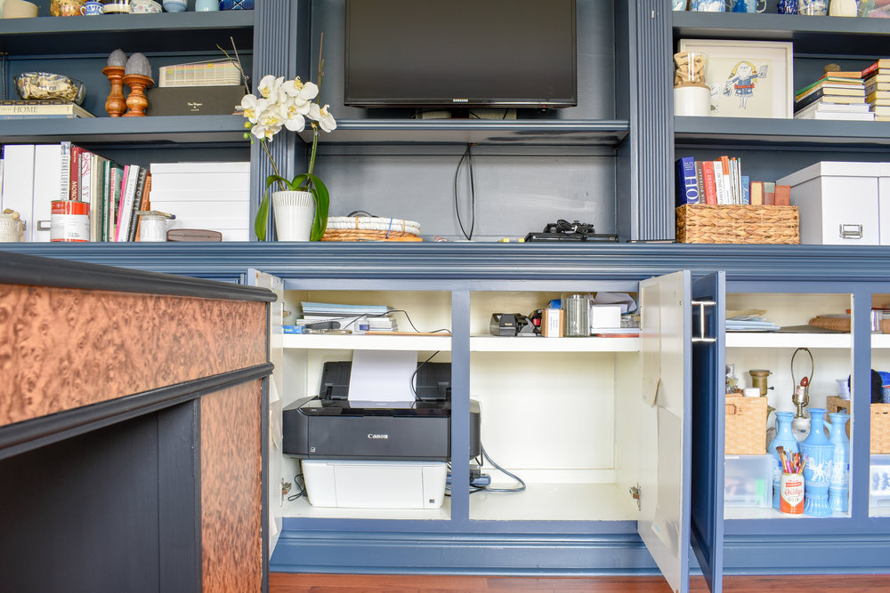 Home Office Storage - Navy Built-in Bookcase Paired with Modern Decor
