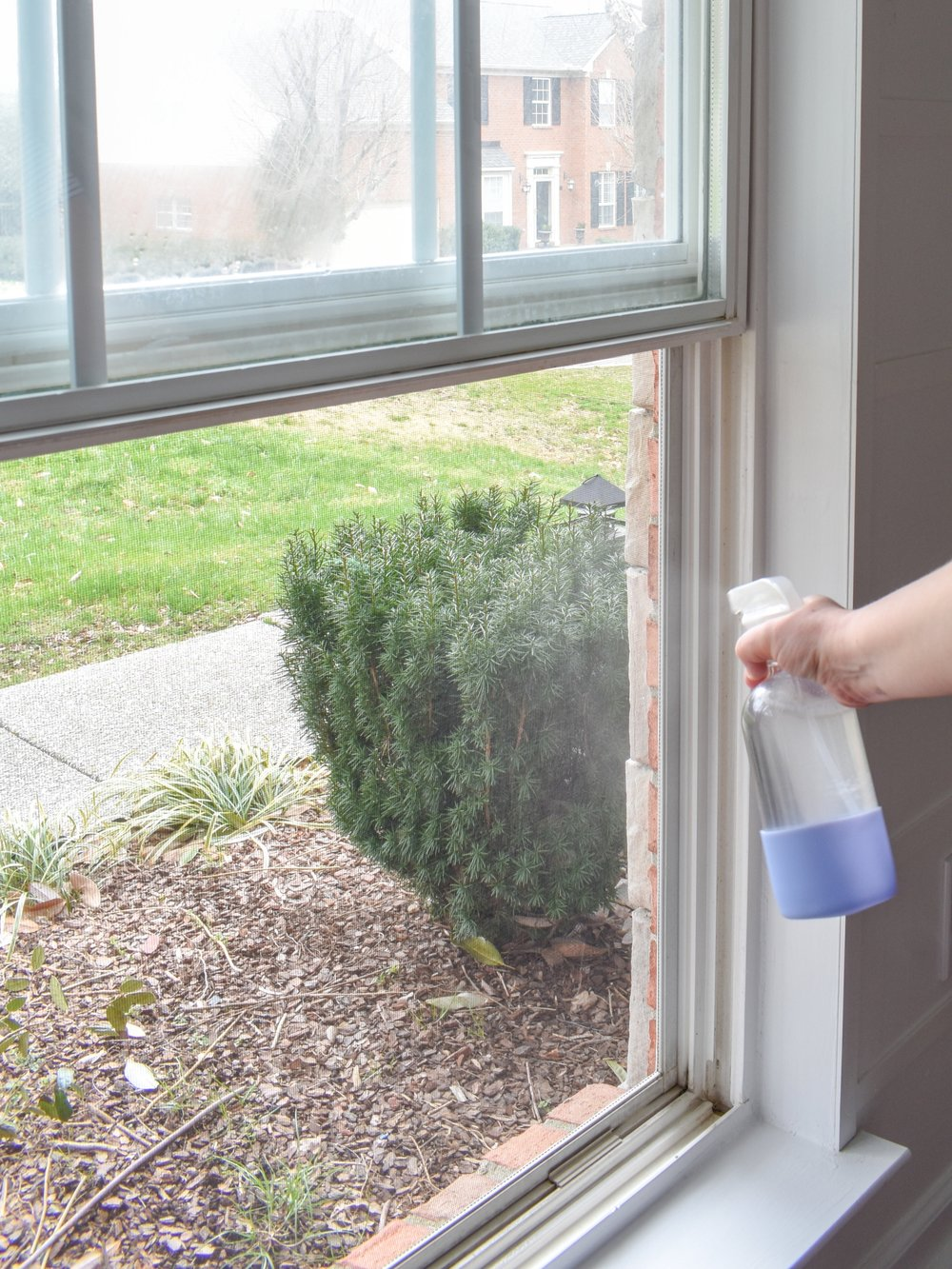 Natural Cleaning: all natural, bug-repelling window + glass cleaner recipe #essentialoils #naturalcleaning #diycleaners