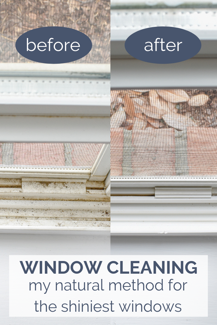 Deep Cleaning Windows - My natural method for the shiniest windows in just 10 minutes! Plus a recipe that will repel spiders and bugs and is safe to use around kids and pets! #springcleaning #essentialoils #cleaningrecipes