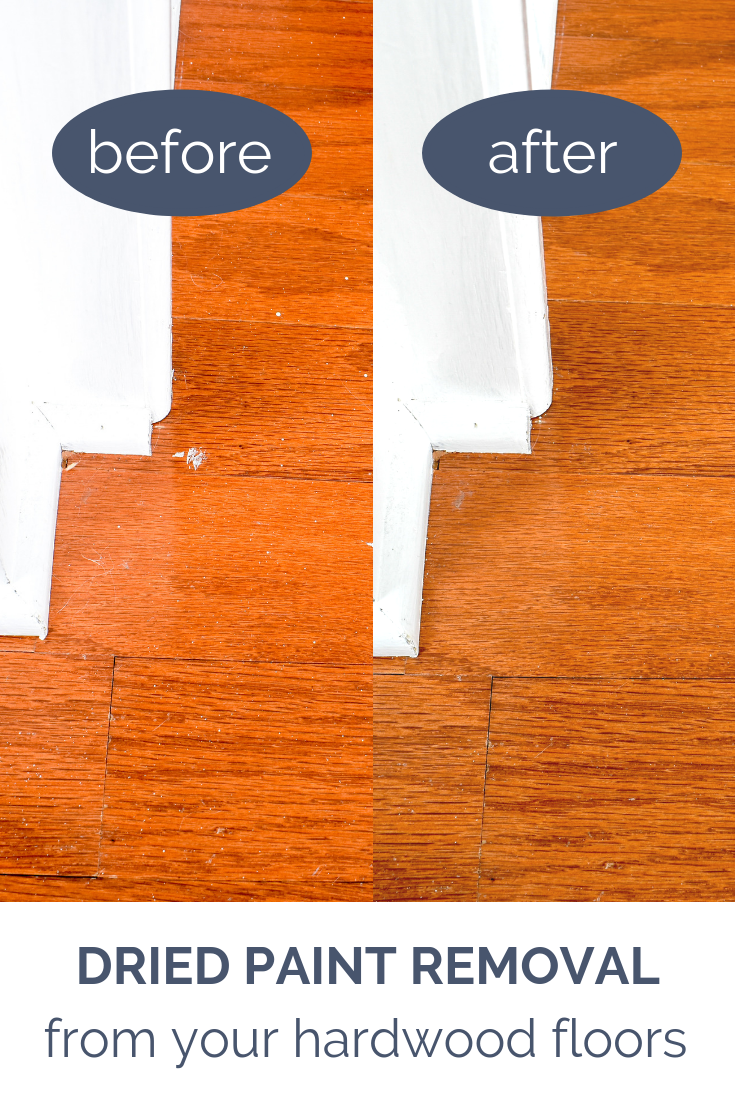 The easiest method for removing dried paint and stain from finished wood floors and furniture.