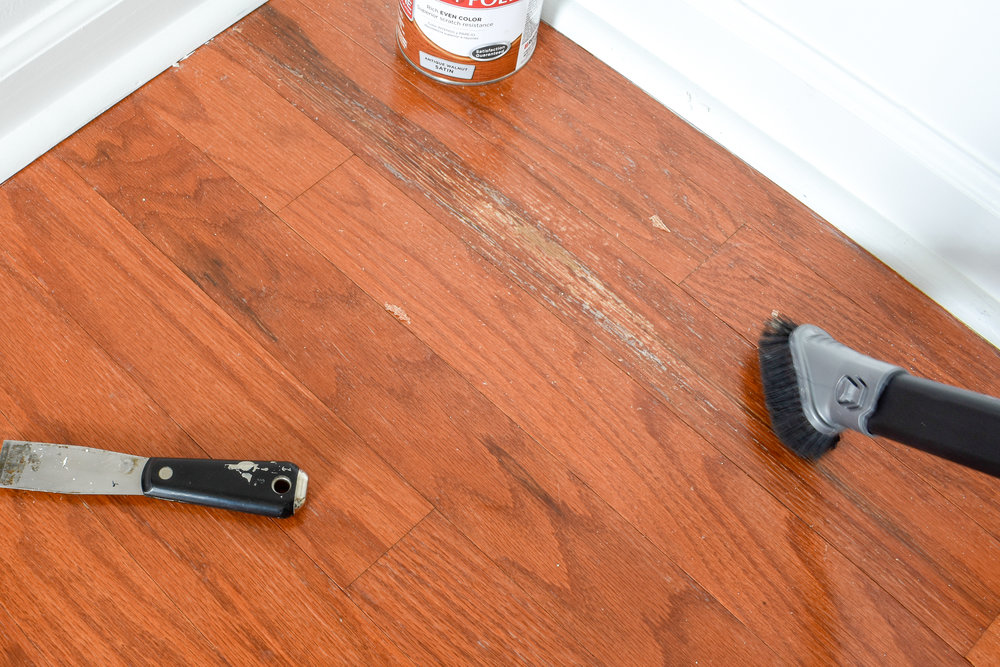 Repairing water damage to prefinished hardwood flooring - how to know if the damage is surface damage or actual wood rot. #hardwoodfloors #flooringmaintenance #flooringrepair