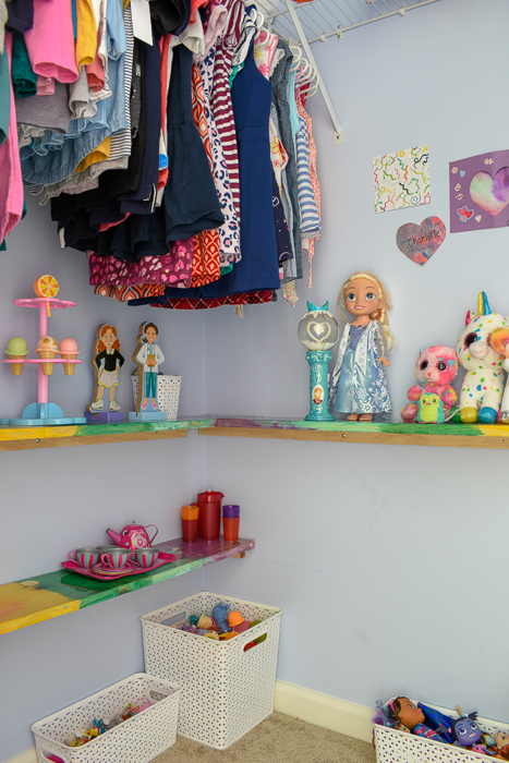 Easy Closet Shelves DIY | Here's how I added toy storage in my daughter's closet and turned this unused space into a playroom she loves! #kidsroomdecor #toystorage #closethack #playroomhack