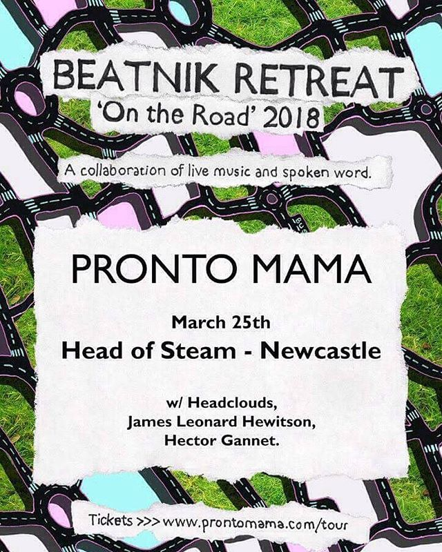 Newcastle on Sunday 🌞🌞🌞🌞🌞🌞🌞 Tickets in bio . . . . . . . . . #prontomamatour #prontomama #newcastle #gigsinnewcastle #headclouds #headofsteam #headofsteamnewcastle #paulwilkie #artwork #songwriter #poetry #ontheroad #spokenword #beatnikretreat #crossover #helpmusiciansuk