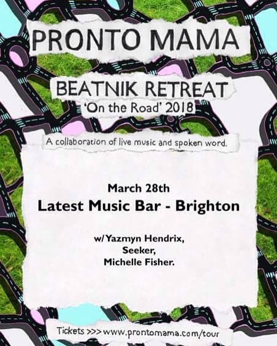 Can't wait to play Latest Music Bar again in Brighton. Wednesday night! . . . . . . . . #prontomama #prontomamatour #brighton #brightonbeach #latestmusicbar #brass #livemusic #guitar #fender #gigsinbrighton #seaside #ontheroad #spokenword #poetry #poetrycommunity #crossover #yazmynhendrix #seeker #seekerband #michellefisher #collaboration #beatnik #retreat #beatnikretreat
