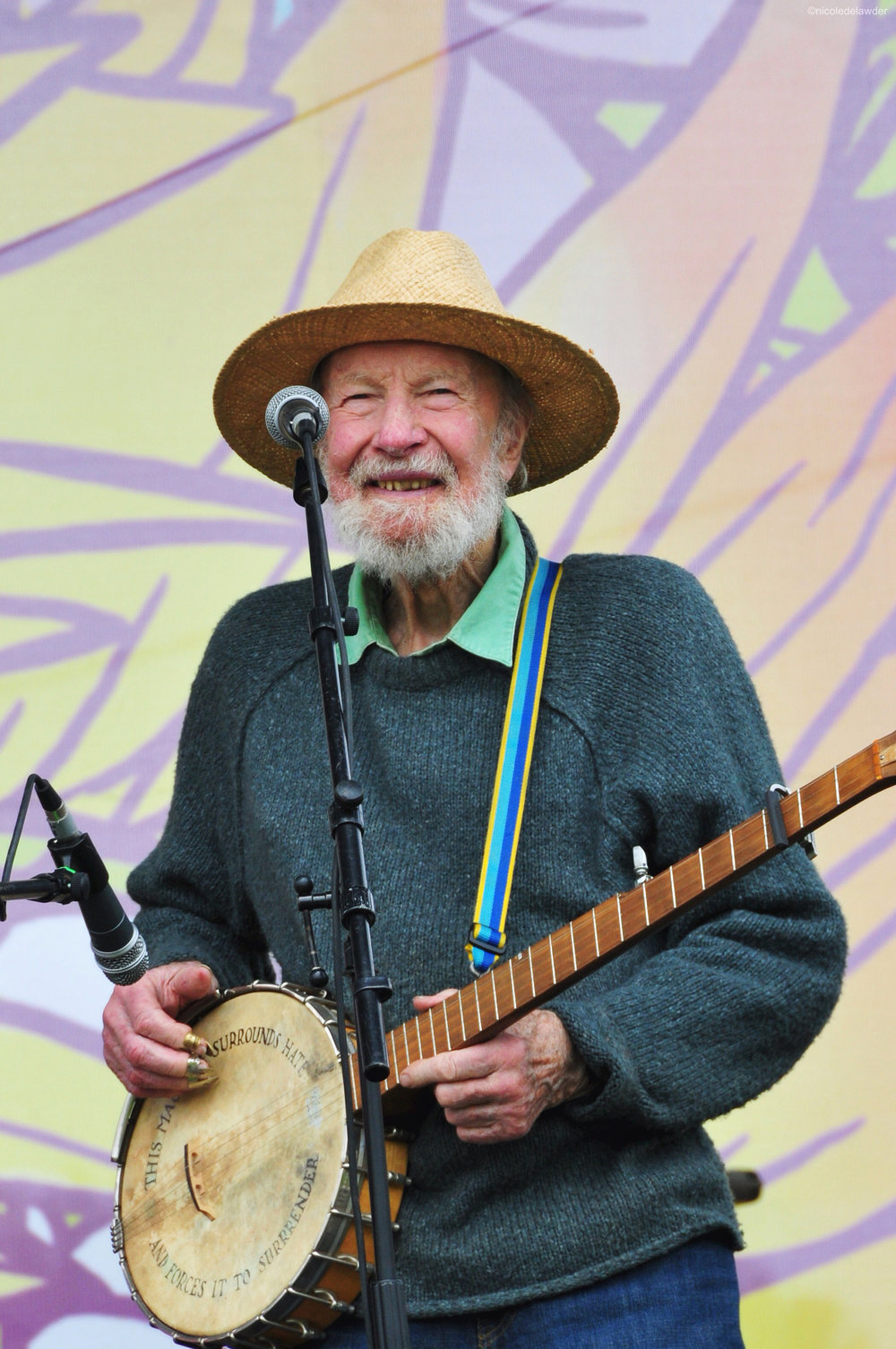 Pete Seeger at the Beacon Centennial Celebration in 2013.  Photo by Niki DeLawder.