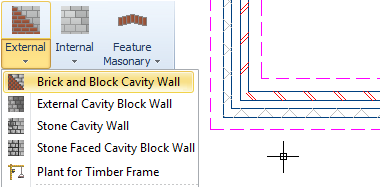 Simple click, drag & drop functionality - PlansXpress comes with a library of pre-made drawing tools making it easy to just click, drag & drop everything onto your plans. Drawing a Brick & Block Cavity Wall? Just select it from the menu, click on the drawing and drag to the required length. All the hatching and detail to show the cavity is done for you!