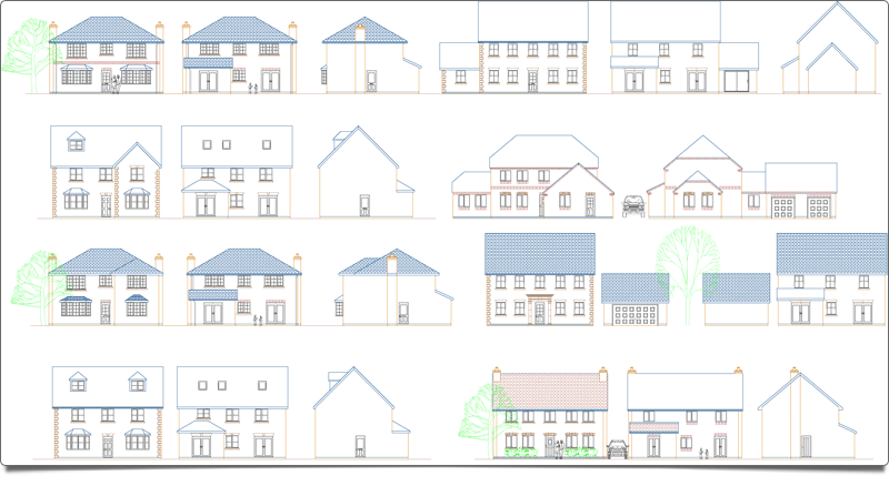 Create full 2D Elevations in seconds - With your plans drawn, PlansXpress will amaze you with the professional 2D elevations it produces without you having to draw a thing!