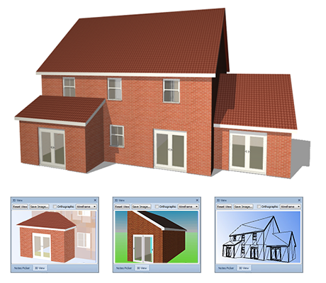 3D CAD models and 3D visualisations - As you draw in 2D, PlansXpress automatically creates a fully textured 3D model on the fly. Great for builders to show off to customers and ideal for evaluating space and analysing your plans.PLUS, with one click using the 3D PhotoVisualiser™ plug-in, you can generate a photo-realistic render of the project and place onto real-life background photographs to transform your building plans into real life 3D.
