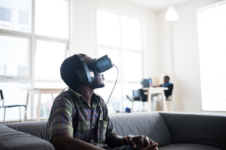 One of our participants tries VR for the very first time!