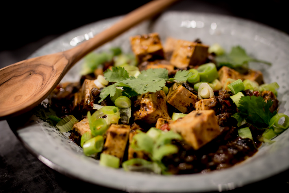 mapo tofu ( V+Gf ) - Med fermenterade svarta bönor och scihuanpeppar