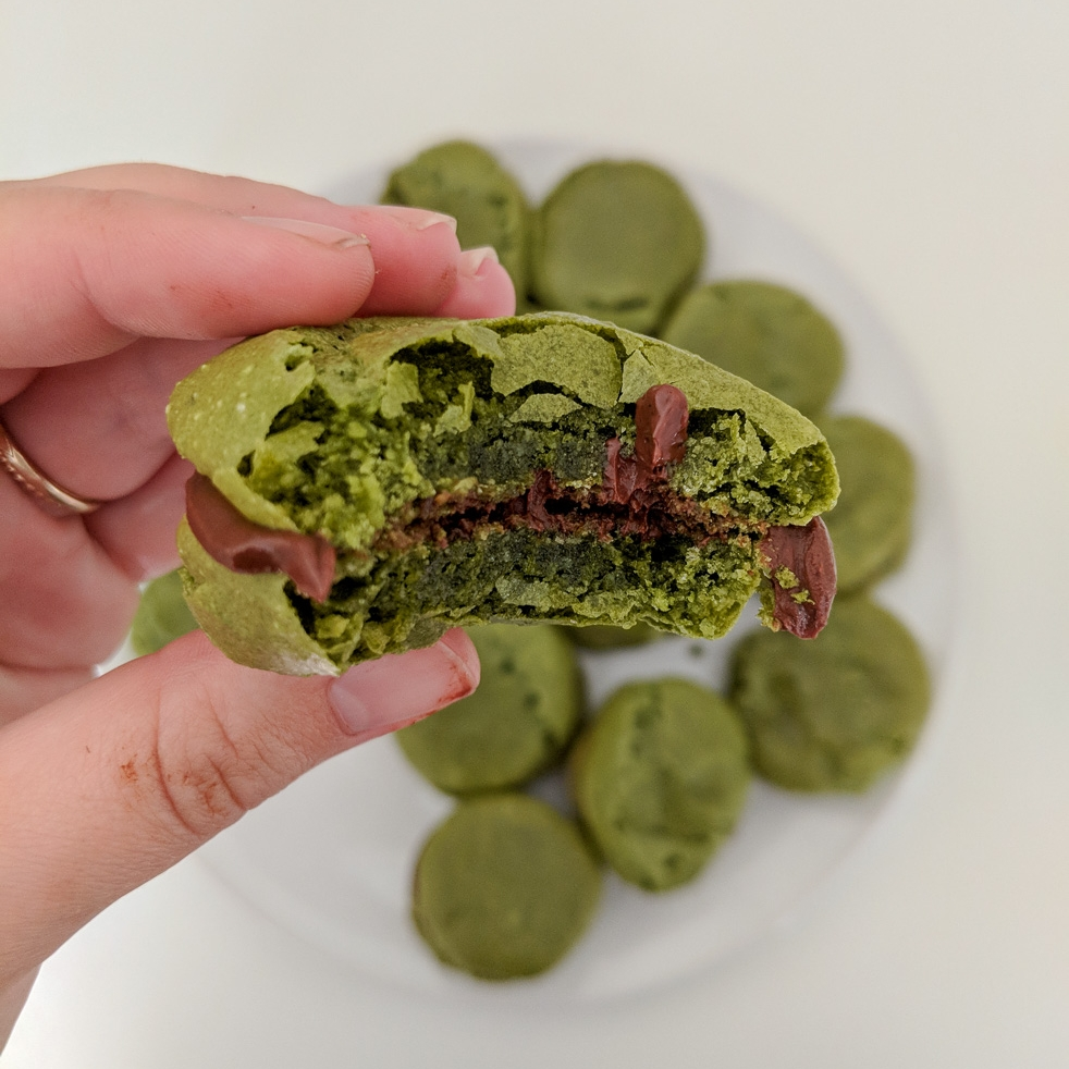 WABI-SABI MATCHA MACARONS - With A Chocolate Coconut Ganache Filling