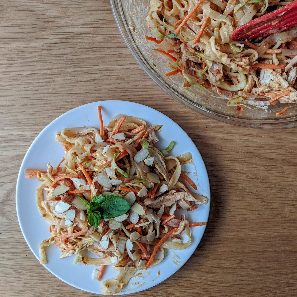 ALMOND CHICKEN & NOODLE SALAD -