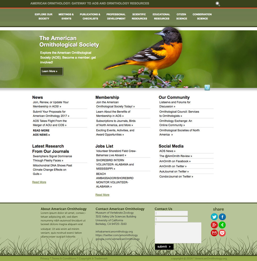 A synthesis of two ornithological societies - This project began in November, 2013. There was a long initial period of discussion with a committee regarding mission, method, content organization and overall design. Wanting open source with substantial capacity for growth It was decided that development proceed on the Drupal 7 platform. The site is hosted at Pantheon.io.