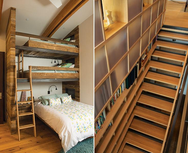Imaginative Bunking:  The bunk room is Ching's favorite room in this house. It features floor-to-curved-ceiling reclaimed barnwood and rustic rails on the bunk beds to hold youngsters snug.   Stair Solution:  Space is used innovatively on this staircase, bookshelves meticulously aligned with each tread and rail.