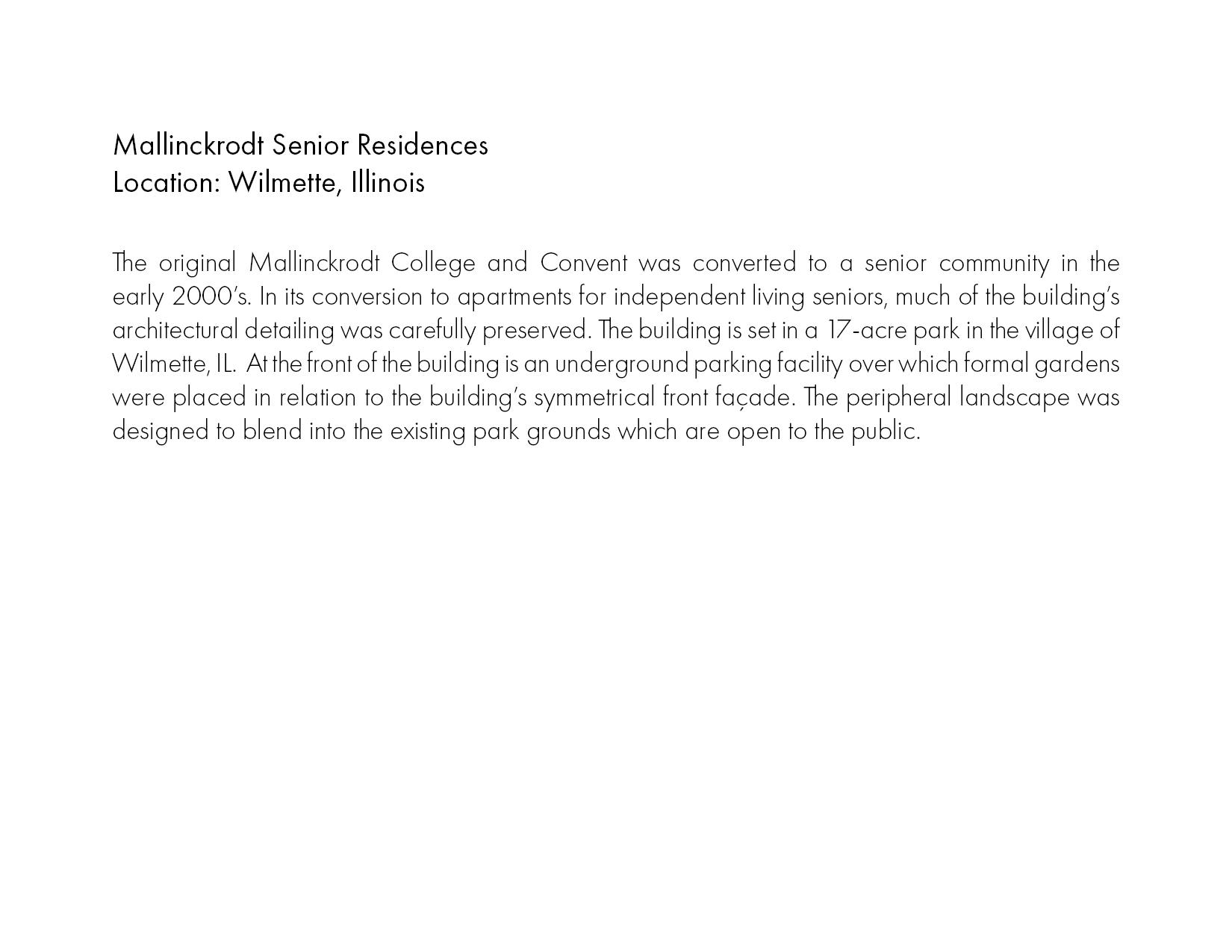 Mallinckrodt Senior Living — Daniel Weinbach & Partners ltd