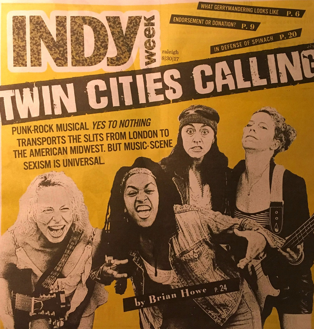 "Dana Marks, Drina Dunlap, Edith Snow, and Jessica Hudson on the Indy Week cover for the punk rock musical, ""Yes to Nothing."""
