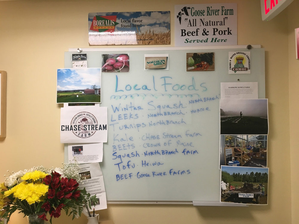 Waldo County General Hospital highlights the local foods on the menu for the day on this board.