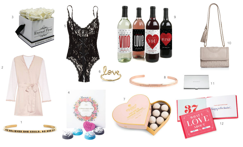 1. 'She Believed She Could' cuff  2.  Flora Nikrooz Silk Robe  3.  Eternal Flowers  4. Anjou  Rose Bath Bombs  5.Hanky Panky  Bodysuit Teddy  6.  Love Ring  7.  Charbonnel et Walker Truffles  8.  'Alhamdulliah' cuff   9.Set of 4  Wine Bottle Labels   10. Tory Burch handbag  11.Kate Spade  Girl Boss   Business Card Holder  12.  What I Love About You by Me Book