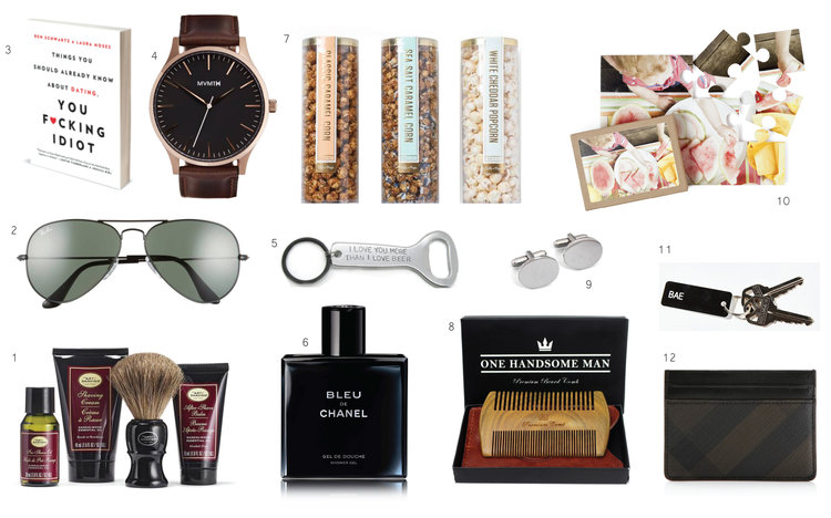 1.  Art of Shaving Kit  2. RayBan  Sunglasses  3. Things You Should Already Know About Love You F*cking Idiot Book  4.  MVMT Leather Watch  5.  'I Love You More Than You Love Beer'  Opener 6.  Bleu de Chanel Cologne  7. Lolli & Pops  Set of 3 Popcorn  8.  The Ultimate Beard Comb  9. Cathy's Concepts  Monogram Cuff Links  10. Photo Puzzle  11.  Key Chain Tags  12. Burberry  Sandon Card Case
