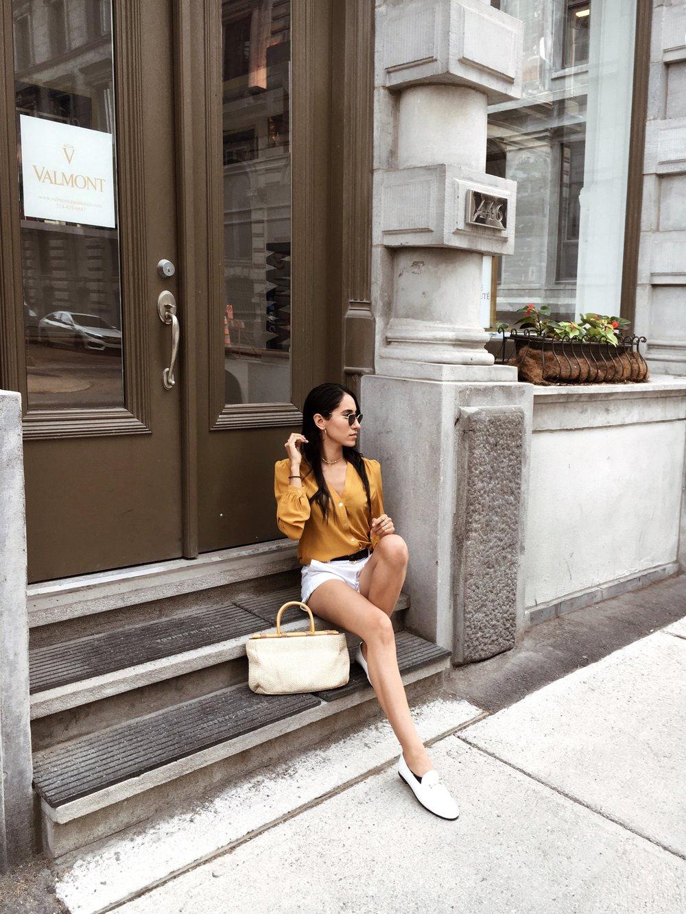 Wearing: Tory Burch  Top |Banana Republic  Shorts |Gucci  Loafers