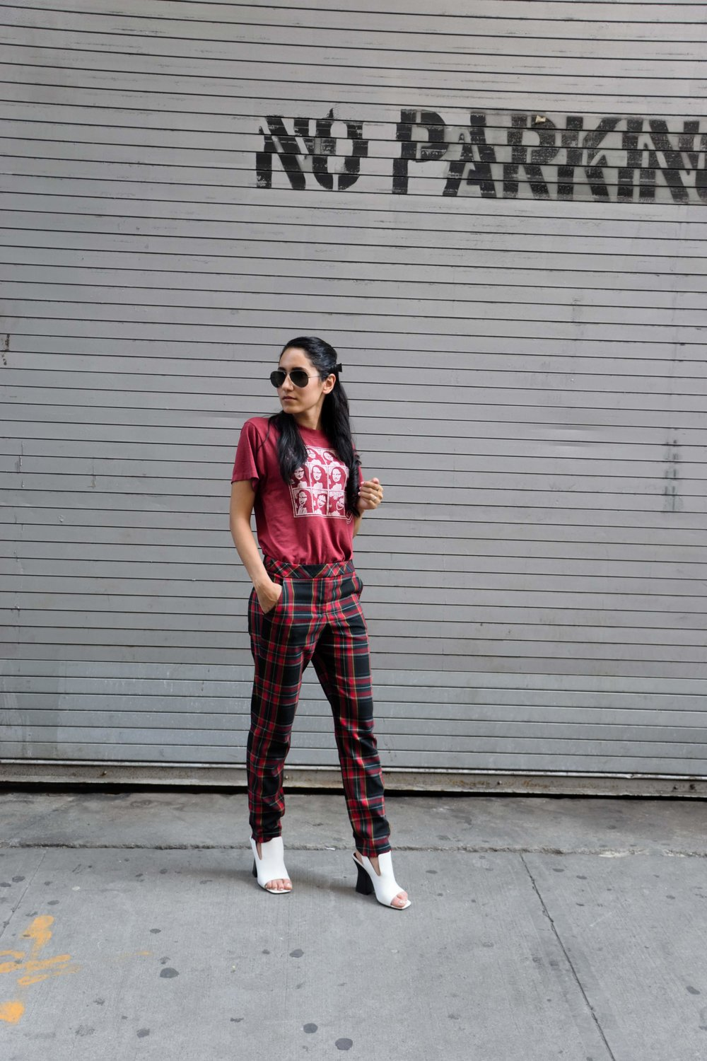 Wearing:  Vintage Mona Lisa (similar)  shirt  | Trina Turk (similar)  pants  | Celine shoes