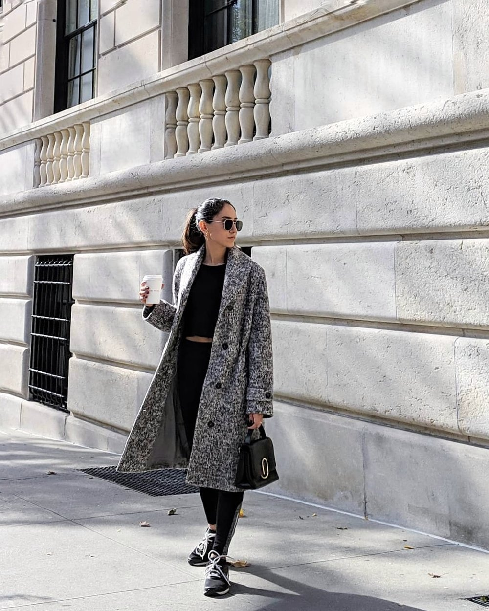 Wearing:  Halston Heritage   Coat   | F21   Crop Top   |  Yoga Pants |  Phillip Lim   Handbag