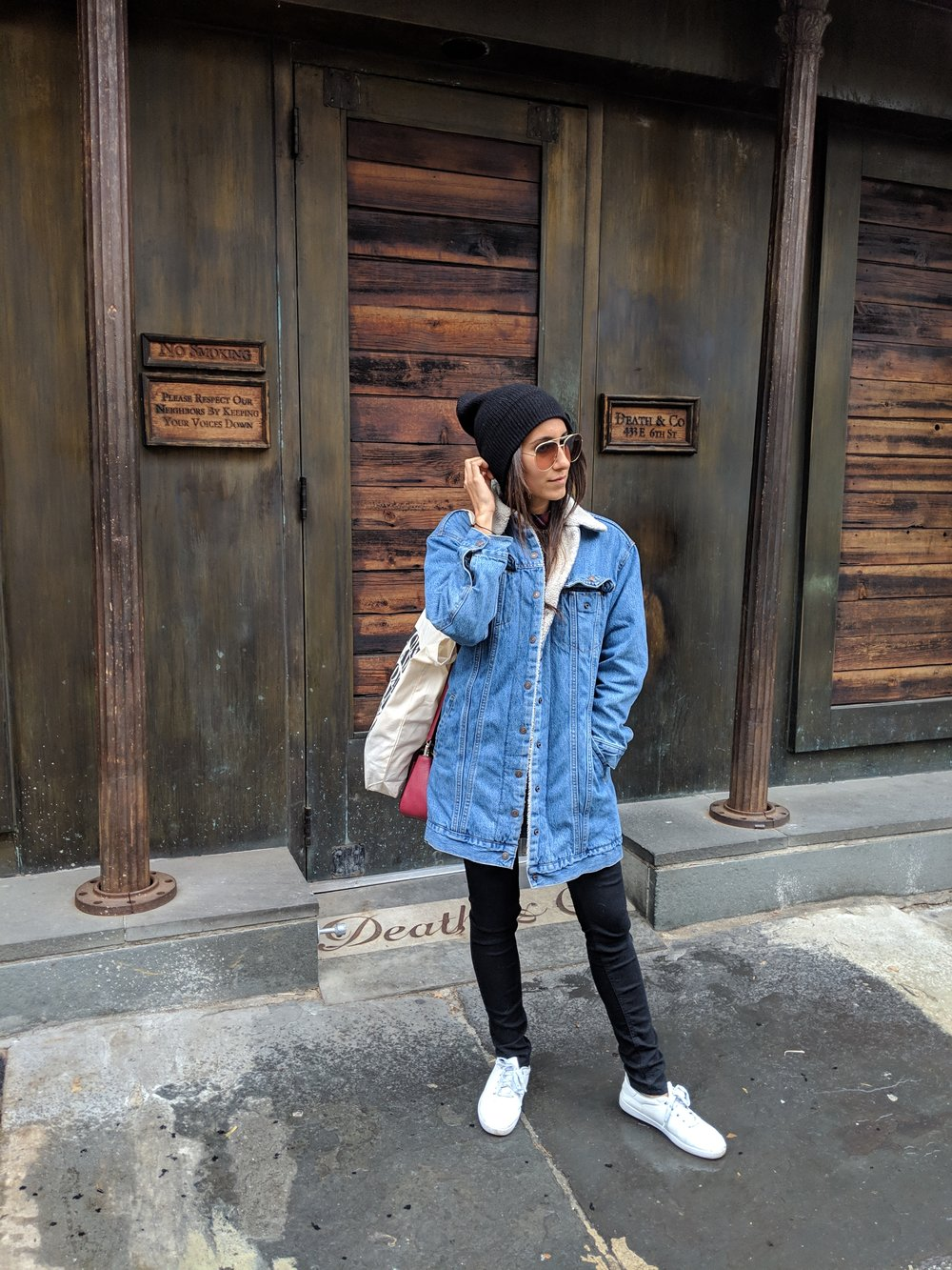 Wearing:  Levi's  Jacket (   similar   )  | Frame  Jeans