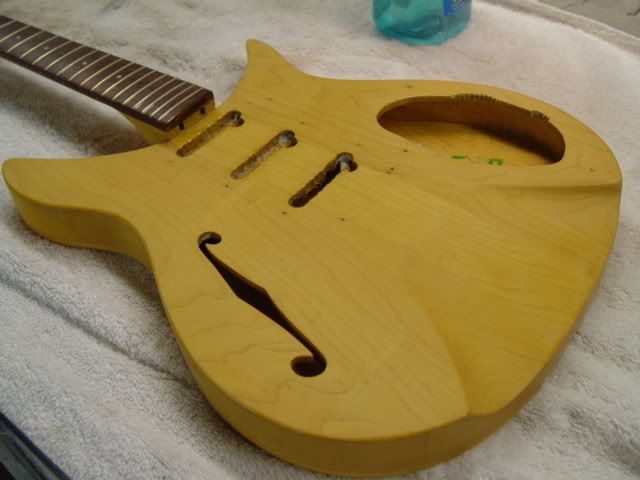 GUITAR FOLLOWING COLOR APPLICATION, BUT BEFORE FIRST CLEAR COATS