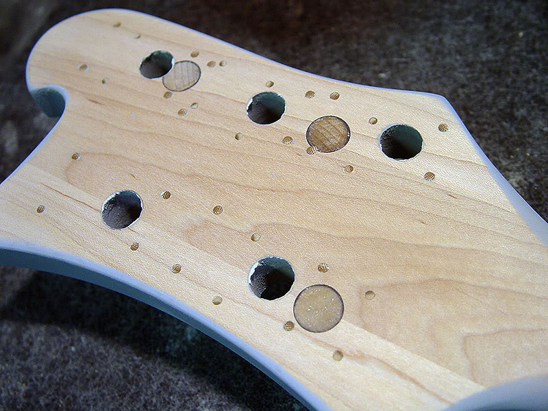 ALL ORIGINAL TUNER HOLES IN HEADSTOCK WERE DOWELLED