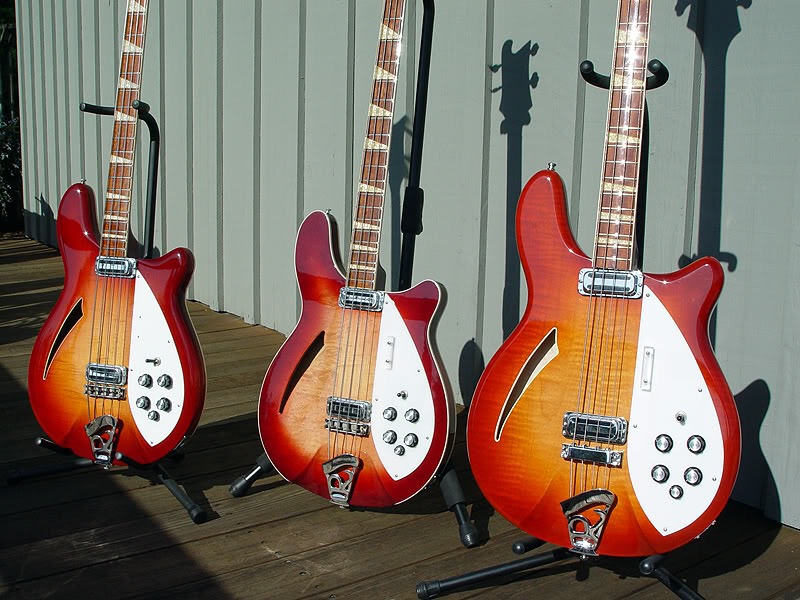 3 VERY RARE RESTORED AMBER FIREGLO 4005 BASSES