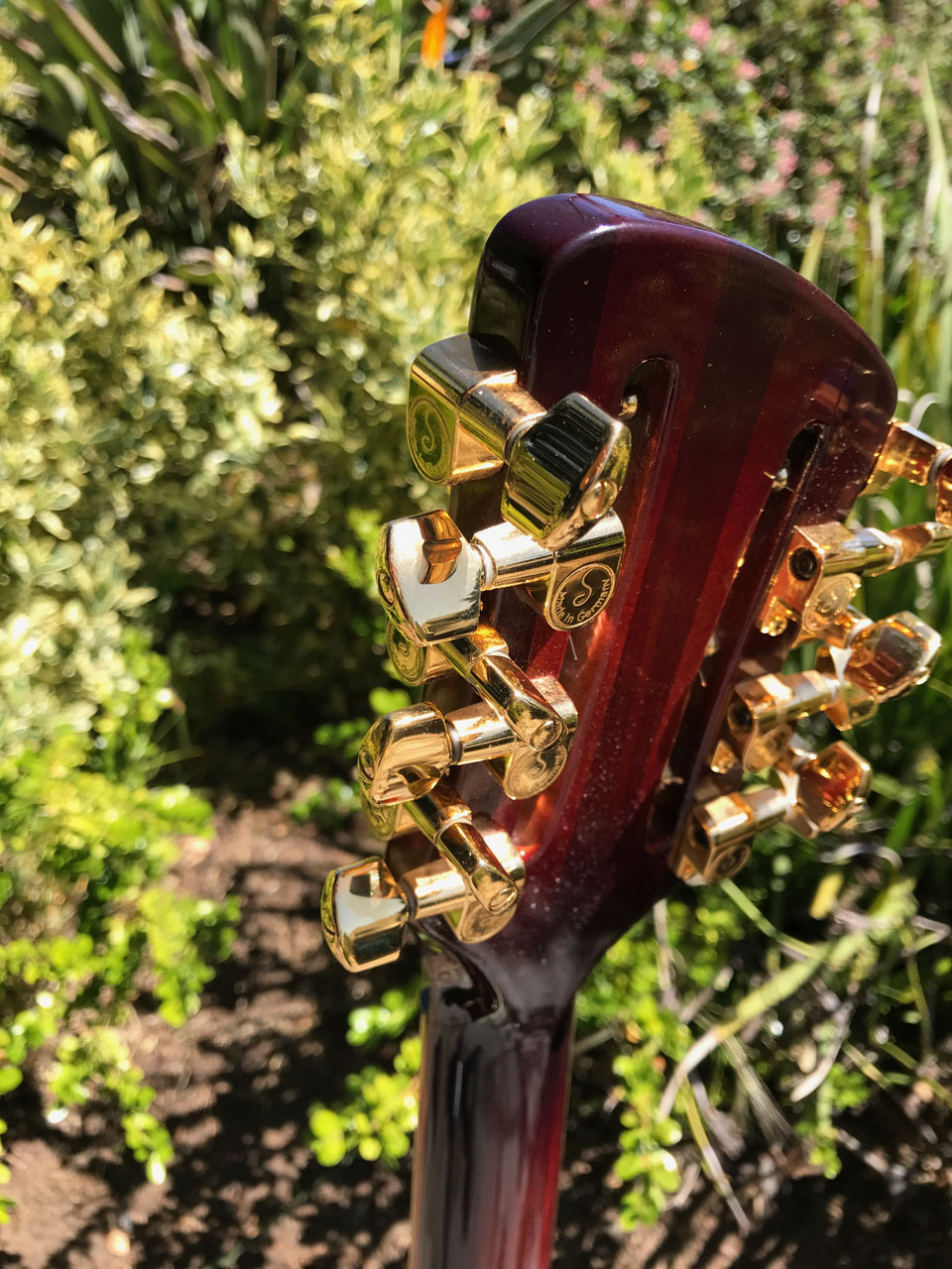 SLOTTED 12-STRING RICKENBACKER HEADSTOCK WITH GOLD SCHALLER TUNERS