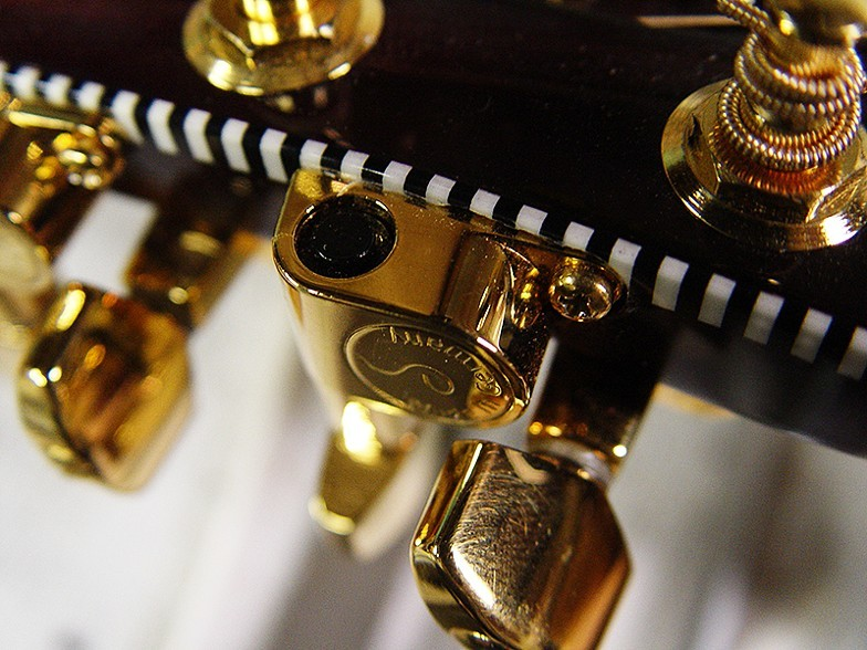 NICE EXTREME DETAIL OF SCHALLER TUNER AND BOUND HEADSTOCK