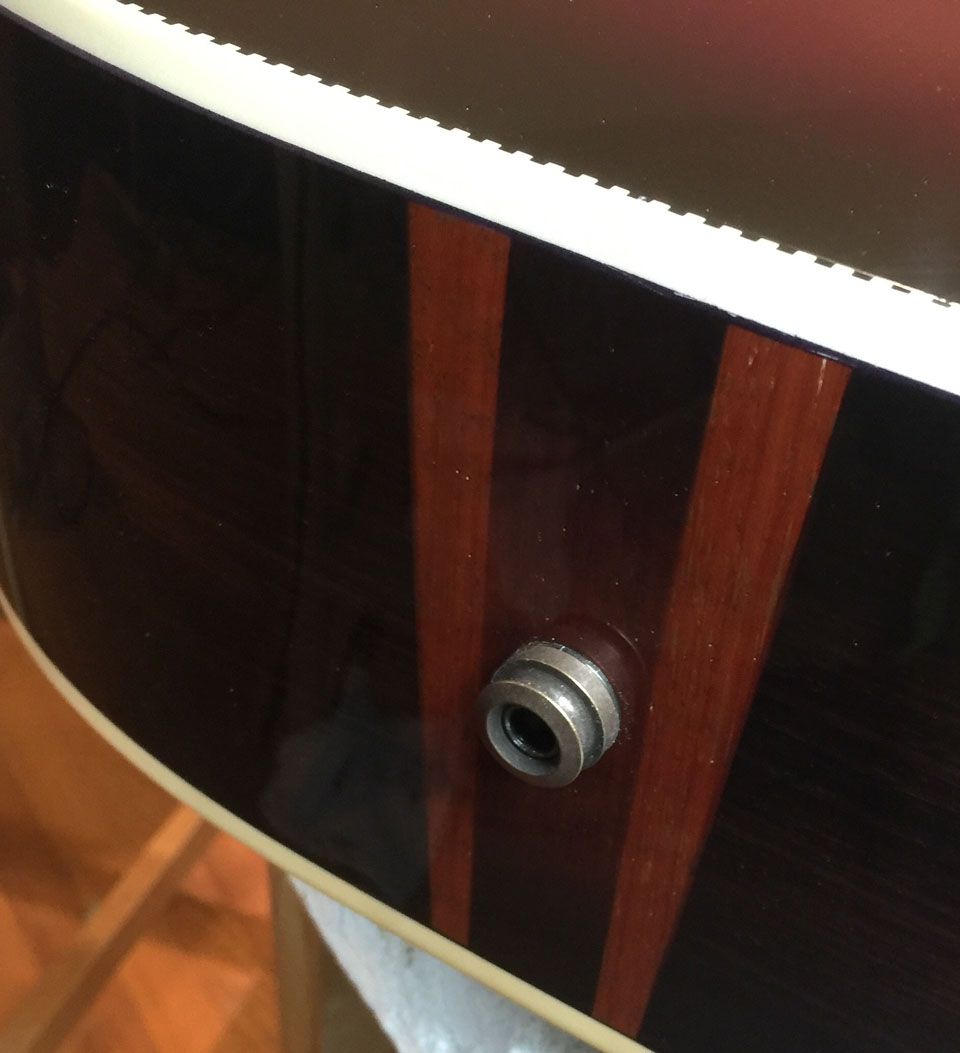 """ANOTHER VARIATION ON A SHADED PADAUK """"FLASH"""" ON A ROSEWOOD GUITAR."""