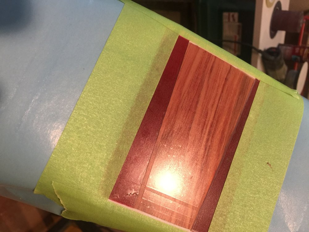 """THIS PADAUK """"FLASH"""" HAS BEEN MASKED FOR A SHADED GRAPHIC PATTERN."""