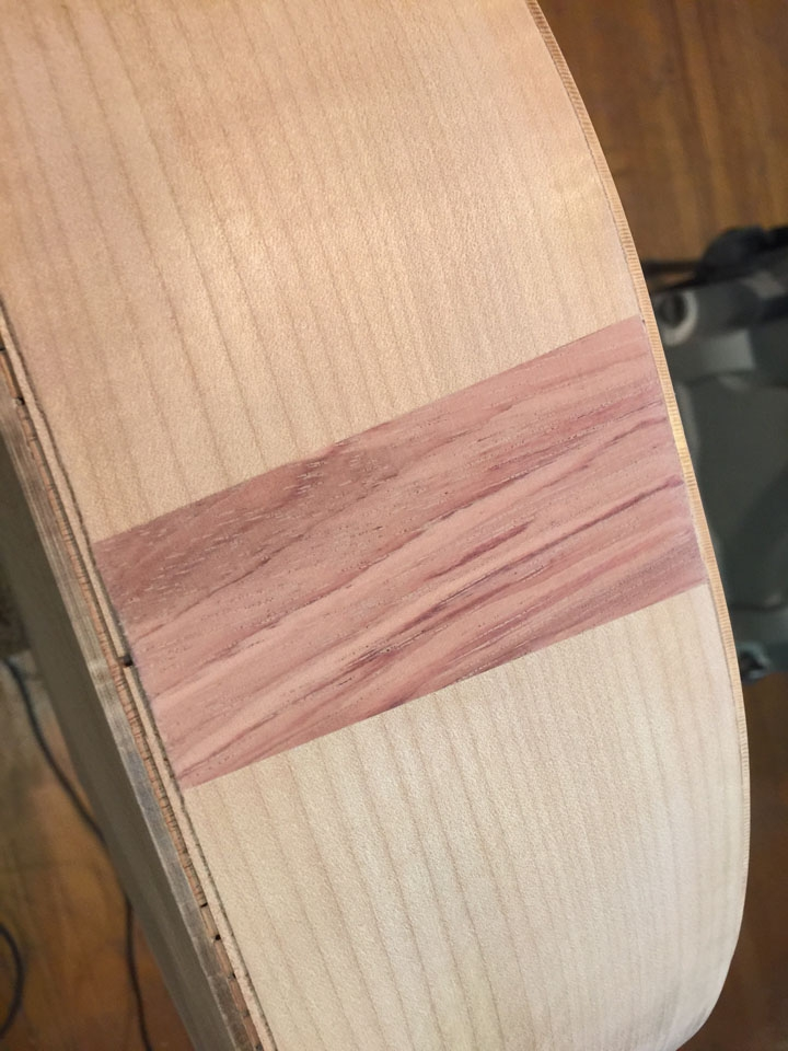 "A CONTRASTING TULIPWOOD ""FLASH"" AGAINST A MAPLE BACKGROUND."