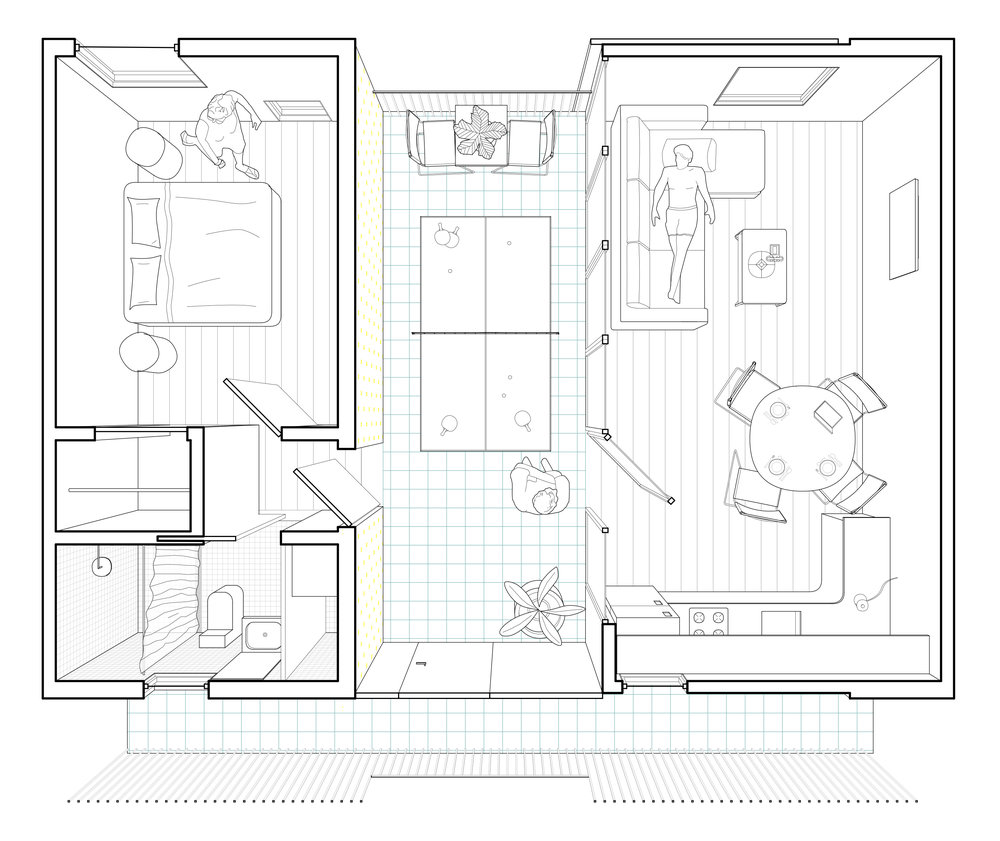 Plan Perspective  Facilitated by the dogtrot, exterior space divides living spaces from sleeping spaces.