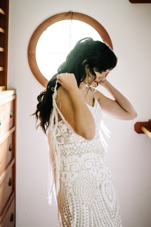 Bride wearing custom dress