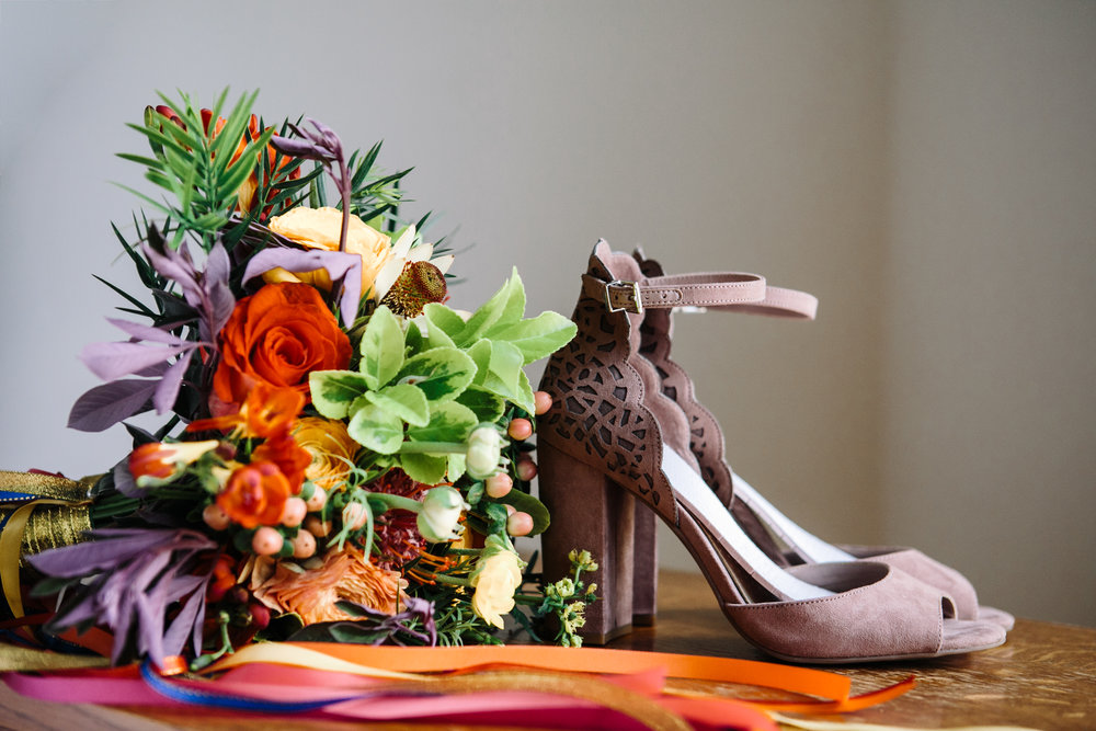Jewel toned bridal bouquet and shoes