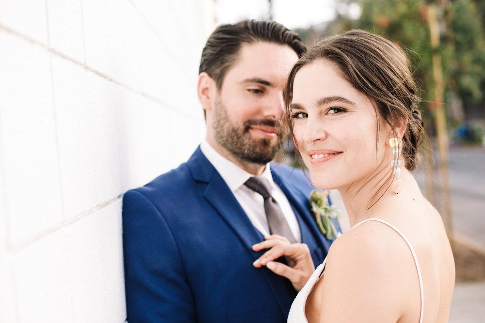Modern Chic Minimalist wedding couple portrait