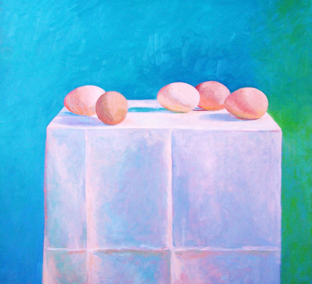 "EGGS PARADE . 26"" x 27"" . OIL ON CANVAS"