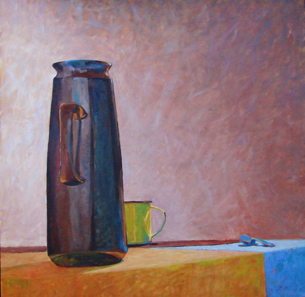 Yellow Mug Series -  Yellow Mug with Coffee Pot oil 29x29.JPG