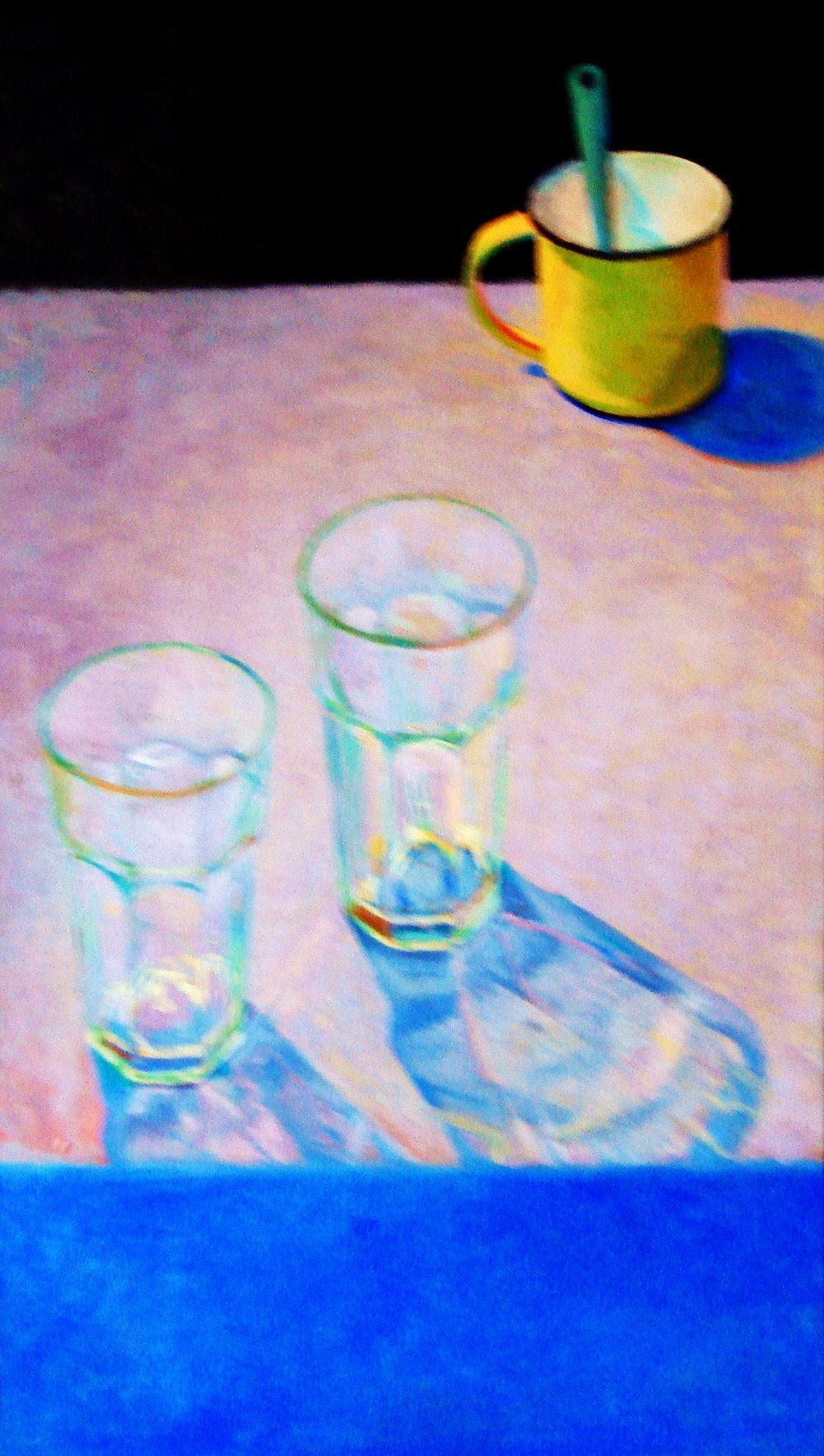 YELLOW MUG WITH TWO GLASSES OIL ON CANVAS 24X 12.JPG
